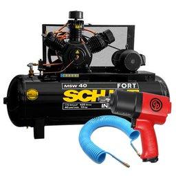 Kit Compressor de Ar Trifásico 220/380V 40 Pés 425L Schulz MSW40/425MTB + Chave de Impacto Chicago CP7736 + Mangueira Espiral 15m