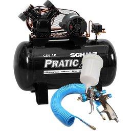 Kit Compressor de Ar Pratic Air  Schulz CSV10/100 + Pistola para Pintura de LVLP Steula BC8014 + Mangueira Espiral 15m