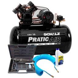 Kit Compressor de Ar Pratic Air 220V Schulz CSV10/100 + Catraca Pneumática Reversível 16 Peças + Mangueira Espiral 15m + Óleo