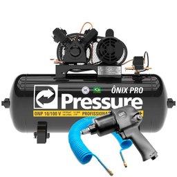 Kit Compressor de Ar 10 Pés Monofásico 127/220V Pressure ONP10100VMN + Chave Parafusadeira Pneumática de 1/2 Pol. + Mangueira de 15 Metros
