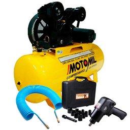 Kit Compressor Trifásico 20 Pés 220/380V Motomil CMV20PL/200 + Jogo 13 peças e Chave Parafusadeira Pneumática + Mangueira de 15 Metros