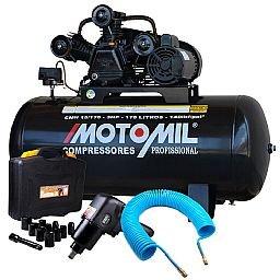 Kit Compressor de Ar 15 Pés Monofásico Bivolt Motomil CMW15/175 + Jogo com 13 Peças e Chave Parafusadeira Pneumática + Mangueira de 15 Metros