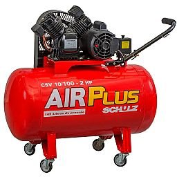 Compressor Air Plus 10 Pés 100L 2HP 140PSI 110V Monofásico com 4 Rodas