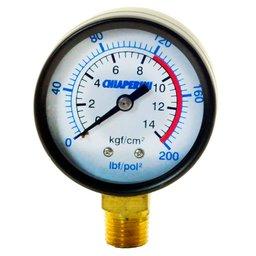 Manômetro 200 PSI 120/200 50 mm. 1/4 Pol. Npt Vertical Compressores Baixa Pressão