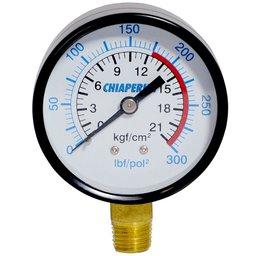 Manômetro 300 Lbs 175/300 60mm 1/4 Pol. Npt Vertical Compressores Alta Pressão