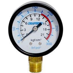 Manômetro 300 Lbs 175/300 50mm 1/4 Pol. Npt Vertical Compressores Alta Pressão