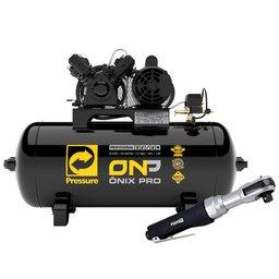 Kit Compressor de Ar Ônix Pro PRESSURE ONP-10/100-VM 10 Pés 2HP Mono 100 Litros 110/220V + Catraca Reversível Pneumática FORTGPRO FG8920 1/2 Pol.