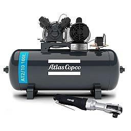 Kit Compressor Média Pressão ATLASCOPCO AT2/10 100L 10 Pés 110/220V + Catraca Reversível Pneumática