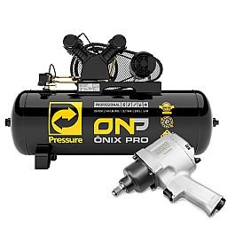 Kit Compressor de Ar PRESSURE 8975701054 20 Pés Trifásico 200 Litros 220/380V 5Hp + Chave Parafusadeira de Impacto FORTGPRO FG3200 1/2 Pol.
