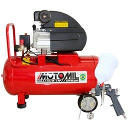 Kit Motocompressor de Ar  MOTOMIL 37896.2 8,7 pés³/min 2,0HP 50 Litros 220V + Kit Pistola de Pintura 600ml com 2 Jogos de Reparo e Bico 1.4mm