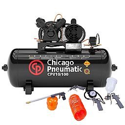 Kit Compressor de Ar CHICAGO 8969010000 2HP 10 Pés 100 Litros 110/220V Mono + Kit de Pintura FORTGPRO FG8670 5 Peças