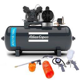 Kit Compressor Média Pressão ATLASCOPCO AT2/10 100L 10 Pés 110/220V + Kit de Pintura 5 Peças