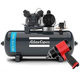 Kit Compressor Média Pressão ATLASCOPCO AT2/10 100L 10 Pés 110/220V + Chave Parafusadeira de Impacto Duplo Martelete