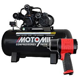 Kit Compressor de Ar Profissional MOTOMIL CMW15/175 15 Pés 3,0HP 175 Litros Mono Bivolt + Chave Parafusadeira de Impacto Duplo Martelete 1/2 Pol.