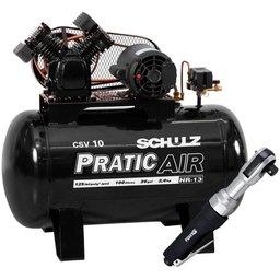 Kit Compressor de Ar Pratic Air SCHULZ CSV10/100 Mono 2HP 10 Pés  + Catraca Reversível Pneumática FORTGPRO FG8920 1/2 Pol.