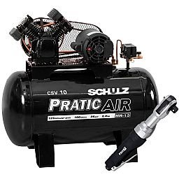 Kit Compressor de Ar Pratic Air SCHULZ CSV10/100 Mono 2HP 10 Pés 220V + Catraca Reversível Pneumática FORTGPRO FG8920 1/2 Pol.