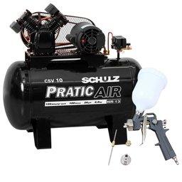 Kit Compressor de Ar Pratic Air SCHULZ CSV10/100 Mono 2HP 10 Pés  + Kit Pistola de Pintura 600ml com 2 Jogos de Reparo e Bico