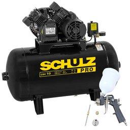 Kit Compressor de Ar SCHULZ PROCSV10/100 10 Pés 100L 2HP 140PSI Mono + Kit Pistola de Pintura 600ml com 2 Jogos de Reparo e Bico 1.4mm