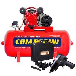 Kit Compressor de Ar CHIAPERINI 19751 Média Pressão Red 10 Pés Trifásico + Chave Parafusadeira de Impacto Pneumática FG3300.13