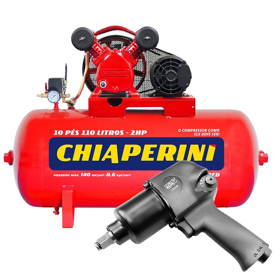 Kit Compressor de Ar CHIAPERINI 19751 Red 10 Pés Trifásico 220/380V + Chave Parafusadeira de Impacto Pneumática FORTGPRO FG3300 1/2 Pol.
