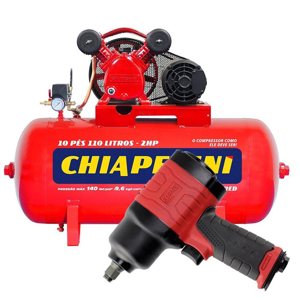 Kit Compressor de Ar CHIAPERINI 19751 Média Pressão Red 10 Pés Trifásico + Chave Parafusadeira de Impacto Duplo Martelete FORTGPRO-FG3310