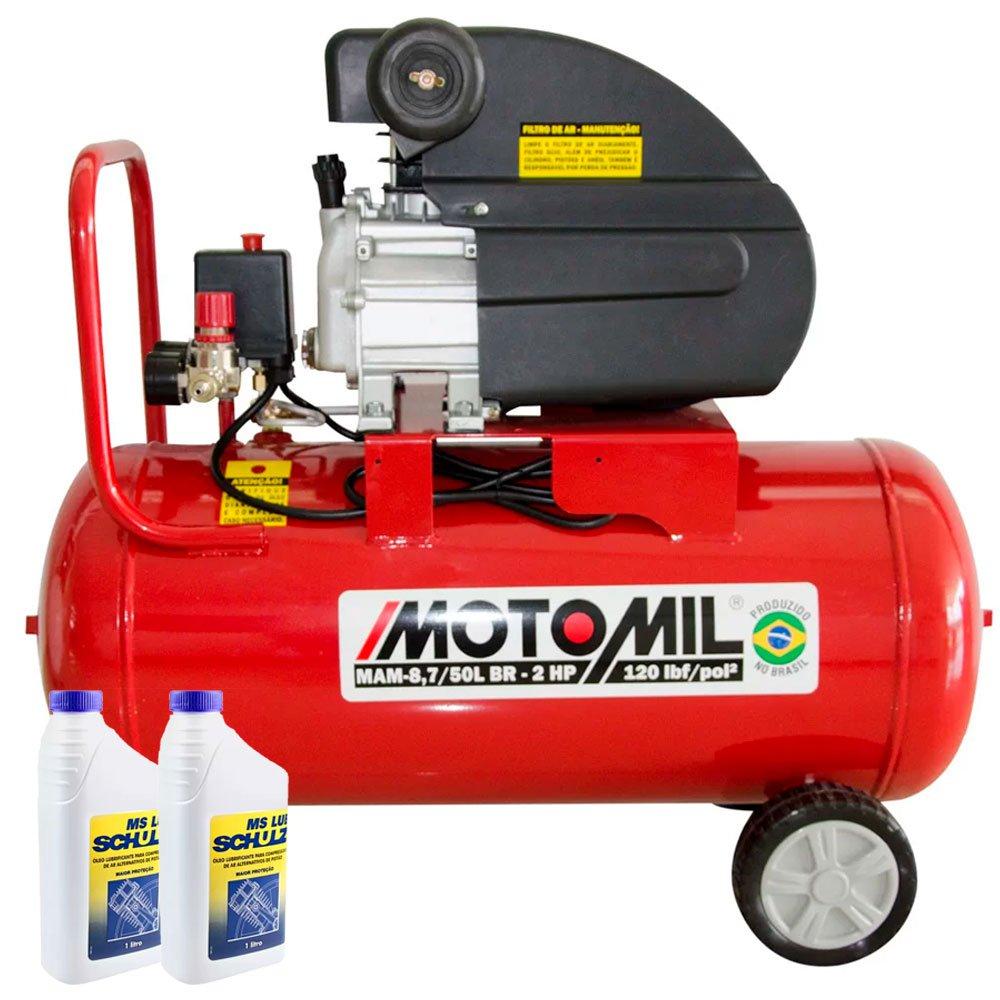 Kit Motocompressor MOTOMIL-37896.2 8,7 Pés 50L 220V + 2 Óleos Lubrificante SCHULZ-0100011-0 1 Litro