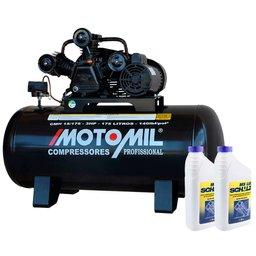 Kit Compressor de Ar MOTOMIL-CMW15/175 Profissional 15 Pés Bivolt + Óleo Lubrificante SCHULZ-0100011-0 para Compressor de 1 L