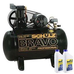 Kit Compressor SCHULZ MONOCSL10BR 10 Pés  100 Litros Mono + 2 Óleos Lubrificante 1 Litro