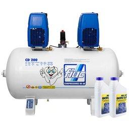 Kit Compressor Odontológico FIAC CD200 14 Pés 1,5 x 1,5CV 200 Litros + 2 Óleos Lubrificante 1 Litro