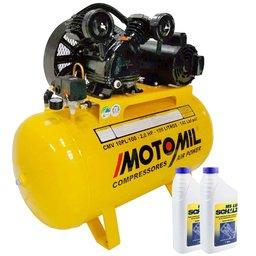 Kit Compressor MOTOMIL CMV10PL/100 Mono 10 Pés 110/220V + 2 Óleos Lubrificante 1 Litro
