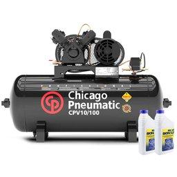 Kit Compressor CHICAGO 8969010000 10 Pés 100 Litros 110/220V Mono + 2 Óleos Lubrificante 1 Litro