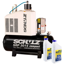 Kit Compressor Rotativo Parafuso SCHULZ-970.3895-0 9Bar 200L 220V + 2 Óleos Lubrificante 1 Litro