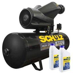 Kit Compressor SCHULZ-MCSV20/200-220V 20 Pés 200L Trifásico + 2 Óleos Lubrificante 1 Litro