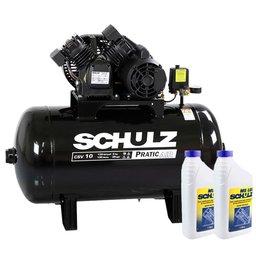 Kit Compressor SCHULZ-CSV10/100 Mono 10 Pés 125 Libras 110V + 2 Óleos Lubrificante 1 Litro