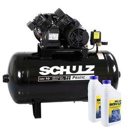 Kit Compressor SCHULZ-CSV10/100 Mono 10 Pés 125 Libras 220V + 2 Óleos Lubrificante 1 Litro