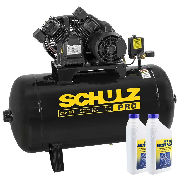 Kit Compressor SCHULZ-PROCSV10/100 10 Pés 100L Mono 110V + 2 Óleos Lubrificante 1 Litro