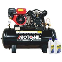 Kit Compressor MOTOMIL CMV15/130G Gasolina 15 Pés 130 Litros + 2 Óleos Lubrificante 1 Litro