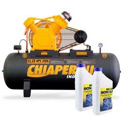 Kit Compressor Industrial 25 Pés 250 Litros 220/380 V CHIAPERINI-CJ25APV250L + 2 Óleos Lubrificante 1 Litro