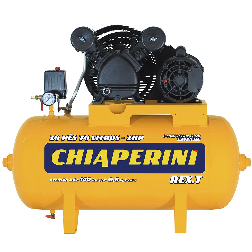 Compressor de Ar 10 Pés 2HP 70L Bivolt Monofásico Rex.t
