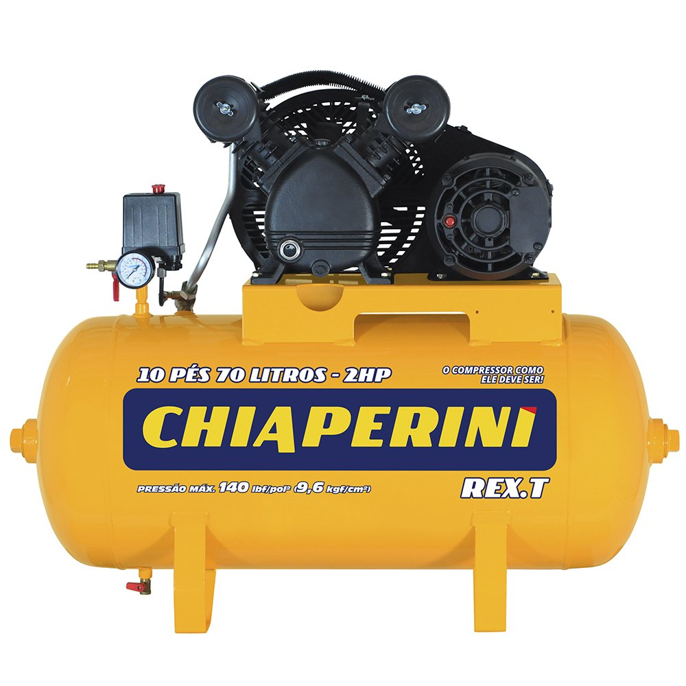 Compressor de Ar 10 Pés 2HP 70L 220/380V Trifásico Rex.t