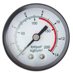 Manômetro Horizontal 50mm 200 PSI 1/4 Pol. para Compressor de Pistão
