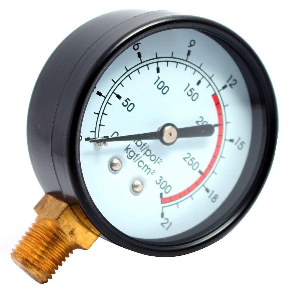 Manômetro Vertical 63mm 300 PSI 1/4 Pol. para Compressor de Pistão