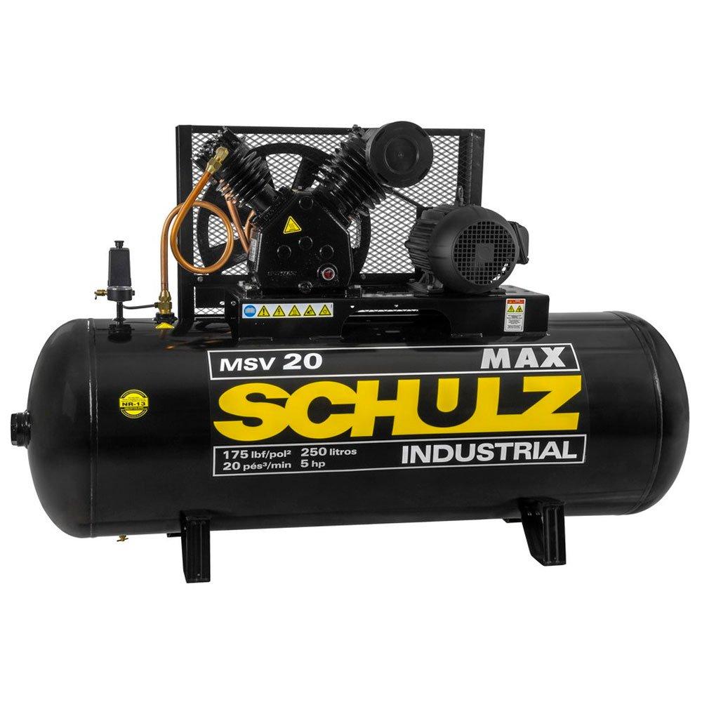 Compressor de Ar Max MSV 20 Pés 250 Litros 5CV Trifásico