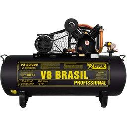 Compressor de Ar 20 Pés 175PSI 5HP Monofásico 200 Litros