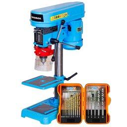 Kit Furadeira de Bancada 13mm 220V 350W Gamma G2320 + Jogo de Brocas Aço Rápido HSS e Alvenaria 17 Peças FG8326