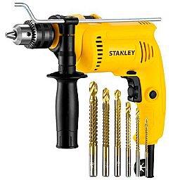 Kit Furadeira de Imp. 1/2 Pol. 600W 220V Stanley SDH600 + Jogo Brocas de Corte Lateral Espiral 3 a 8mm 6 Peças FG8324