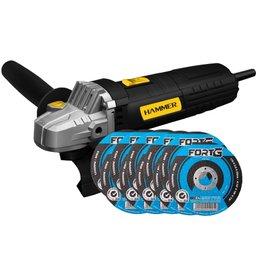 Kit Esmerilhadeira Angular Hammer EM710 4.1/2 Pol. 710W 110V + 10 x Discos de Corte 115 x 3mm FG034