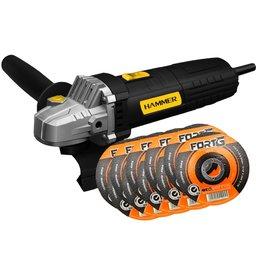 Kit Esmerilhadeira Angular 4.1/2 Pol. 710W 220V Hammer EM710+ 10 x Discos de Corte Fino 4.1/2 Pol. 115 x 1.0 x 22mm FG035