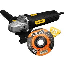Kit Esmerilhadeira Angular de 4.1/2 Pol. 710W 220V Hammer EM-710 + 20 x Disco de Corte Fino de Aço Inox 4.1/2 Pol. FG035