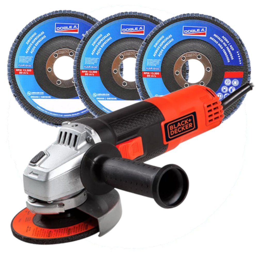 Kit Esmerilhadeira Angular BLACK DECKER-G720 4.1/2 Pol. 820W 110V  + 3 Discos Flap DOBLE-A 66623326043 Grão 40